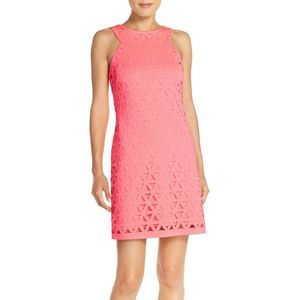 Lilly Pulitzer Mango Shift Dress Pink Perforated L